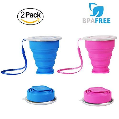 2 pcs Vaso de Agua de Silicona Plegable Portátil Retráctil WEINAS 200ML Botella de Agua Reutilizable Taza Vaso de Viaje Plegable sin BPA Ahorro de Espacio para Viaje(Azul / Rosa)