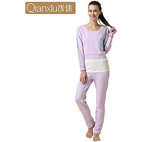 HE XIAODONG@ Confortevole pigiama caldo casa abbigliamento Pigiama set donne moda abbigliamento esterno casual abbigliamento (3 Zuppa)
