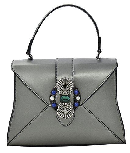 ALINA Henkeltaschen Schultertaschen Handtaschen Tasche Damen Echtes Leder Made in Italy Silber