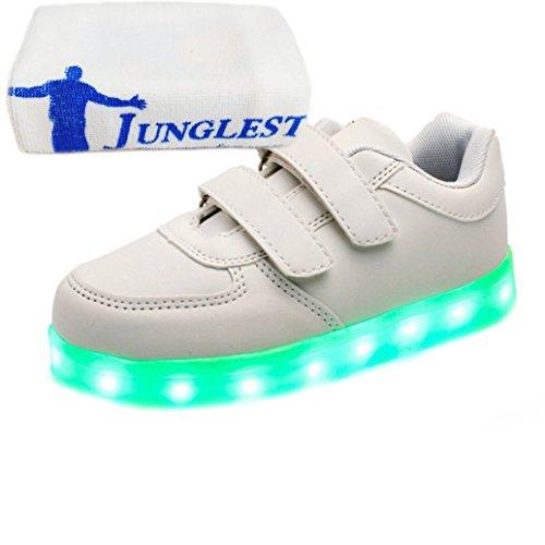 [Présents:petite serviette]JUNGLEST® 7 couleurs Kid Garçon Fille de recharge USB Chaussures LED Light Up Sport lumineux cl Blanc