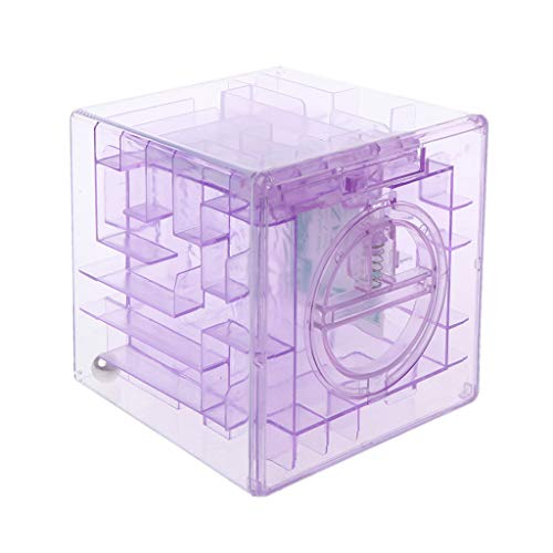 LDA GET Fresh 3D-Würfel Puzzle Geld Labyrinth Bank Sparmünze Sammlung Fall Box Spaß Gehirn Spiel Kinder Geschenke-Lila