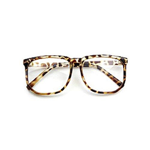 Sanwood, übergroße Unisex-Brille für Nerds und Geeks, gewöhnliches klares Brillenglas Gr. Einheitsgröße, leopard