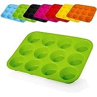 Lumaland Cuisine piastra antiaderente per 12 Muffin, in silicone, ca. 32,5 x 24,8 x 3 cm, sino a 260° C, verde