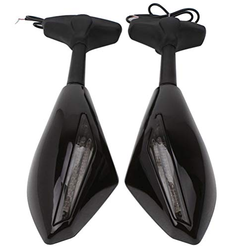 Lanbowo - 2 Espejos retrovisores para Motocicleta, Color Negro con Intermitente LED para Honda Kawasaki Suzuki