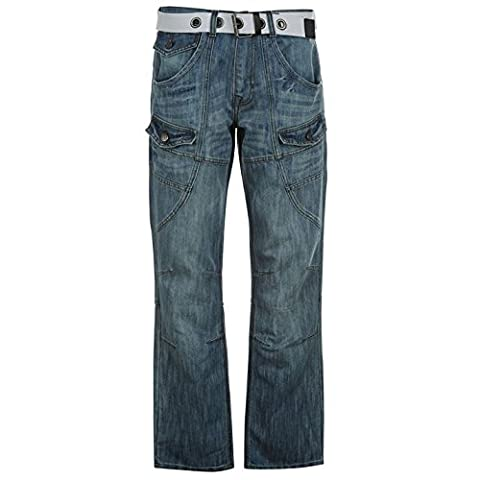 No Fear Mens Belted Cargo Jeans Multi Pocket Button Zip