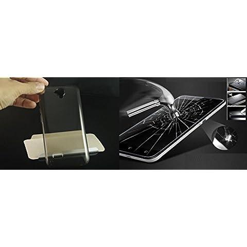 Para Huawei Y5/Y560/Y560-L01Cubierta Protector caparazón Retro Funda Carcasa Case Bumper GEL Silicona Gris fume 'transparente goma blanda ultra slim ultra ligera fina + protector cristal templado pantalla Protección Protector Touch Screen Salva pantalla golpes 9H