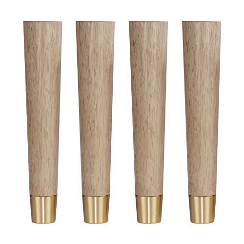 Austauschbare Fußbett (Furniture legs Möbelbeine x4, Gummiholz   austauschbare Möbelzubehör, tragende Starke Anti-Rutsch, geeignet für Sofa Fußbett Beine Tischbeine Hardware Stützfüße)