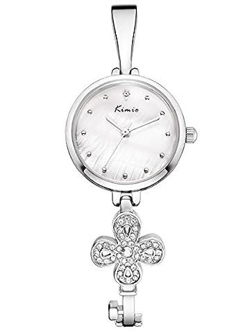 Alienwork Quartz Watch bracelet chain warp Wristwatch elegant stylish Metal white silver YH.K6212S-02
