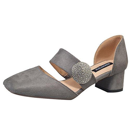 Dame de chaussures de mode de printemps/La version coréenne des tête carrée chaussures légères de Joker/chaussure de boucle suede talons chunky A