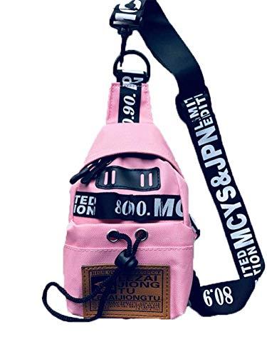 BORKE Mädchen Sling Bag Kleiner Nylon Crossbody Bag Mode Lässig Brusttasche Wasserfest Robust Schultertasche Schule Umhängetasche Outdoor Sport Brust Kleiner Sling Rucksack Damen Pink Camouflage Messenger Bag