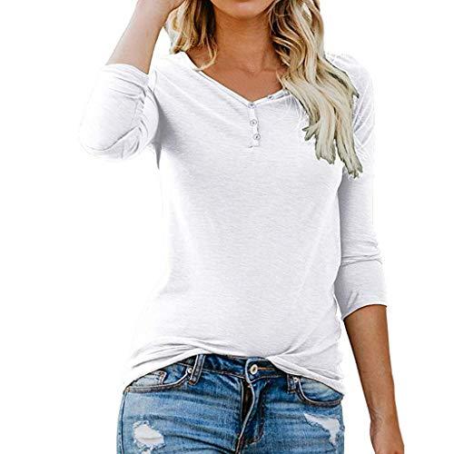 Tops de mujer Hanomes Camiseta Irregular de Manga Larga para Mujer Blusa básica Informal