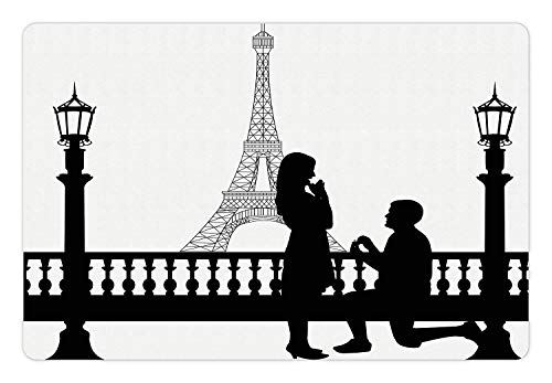 rty Pet Mat for Food and Water Paris Love Valentine's City Wedding Proposal Future Happiness Image Rectangle Non-Slip Rubber Mat for Dogs and Cats Black and White ()