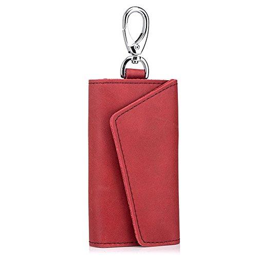 MeiliYH Herren Damen Echtes Leder Schlüsselkoffer Modische Retro Taille Multifunktions Auto Home Schlüsselanhänger Card Pack (Schlüsselkasten Geldbörse Herren)