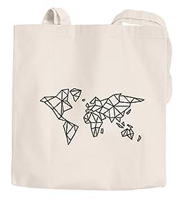 Jutebeutel Weltkarte World Map Low Polygon Baumwolltasche Stoffbeutel Einkaufstasche Autiga natur 2 lange Henkel