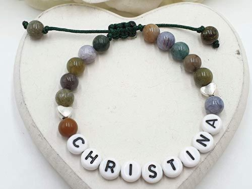 Namensarmband, Armband Indischer Achat, Armband Makramee, Achatarmband, Perlenarmband Liebe, Geschenk Herzensmensch, Armband mit Name