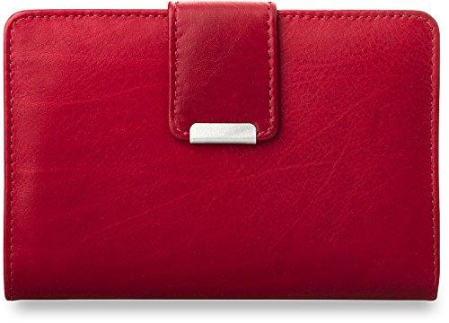 praktisches Damen - Portemonnaie Leder - Geldbörse (rot) (Damen Portemonnaie Rote Kleine)