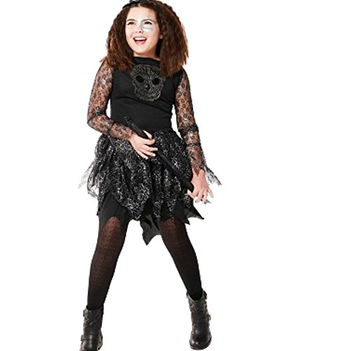 Unbekannt Gothic Enchantress Skully Hexe Kinder Fasching Halloween Karneval Mädchen Kleid (Small 104-116) (Gothic Enchantress Kostüm)