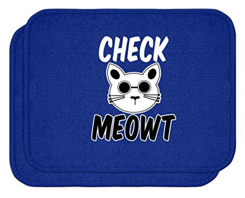 SPIRITSHIRTSHOP Check Meowt! Für die coolen Katzenliebhaber unter uns! Sonnenbrille Mauz - Automatten -Einheitsgröße-Royal Blau