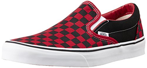 Vans Unisex Classic Slip-On (Checkerboard) Black and Red Canvas Loafers and Moccasins - 7 UK