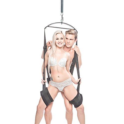 Balançoire rotative à suspendre Qbuds, multifonction, en acier inoxydable, pour la chambre à coucher, charge maximale 135 kg, noire et argent, poids 4 kg