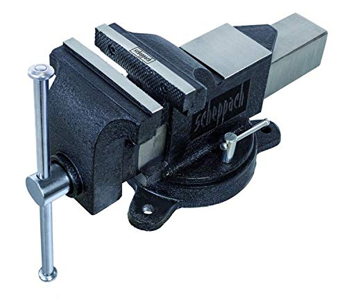 Scheppach Schraubstock mit Drehteller V125P (Spannweite 125mm, Backenbreite 125mm, drehbar, einfache Montage, Grauguss-Konstruktion, gehärtete Stahlspannbacken, integrierter Amboss)