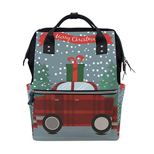 Emoya Stilvoller Arzt-Stil Schulrucksack Weihnachtsbaum Retro Auto Geschenk-Box Reisetasche für Männer und Frauen -