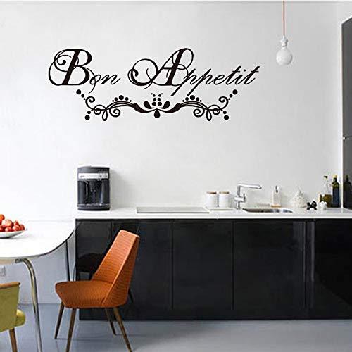 yiyiyaya Francese Bon Appetit Rimovibile Vinile Wall Sticker murale Decalcomanie di Arte della Parete per la Cucina Sala da Pranzo Decorazione Home Decor 20X58CM