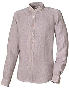 Almsach Trachtenhemd WIPFELD Beige Langarm Slim Fit Stehkragen