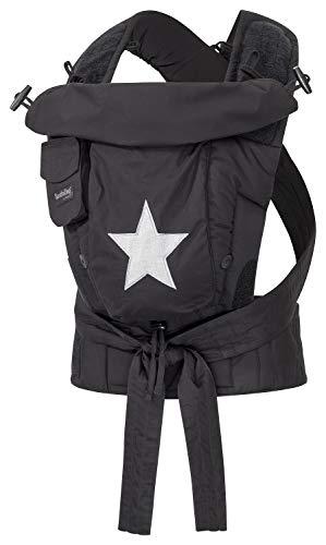 Bondolino Plus Babytrage inklusive Bindeanleitung, Slim-fit schwarz mit Stern
