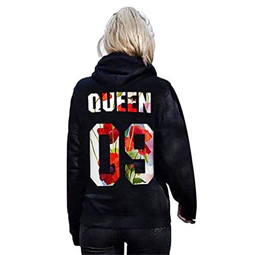 *Pärchen-Hoodie KING & QUEEN,Yezelend Couple Outfit Liebespaar Casual Pullover Schwarz Crew Neck Sweatshirt Tops (S, Damen-queen)*