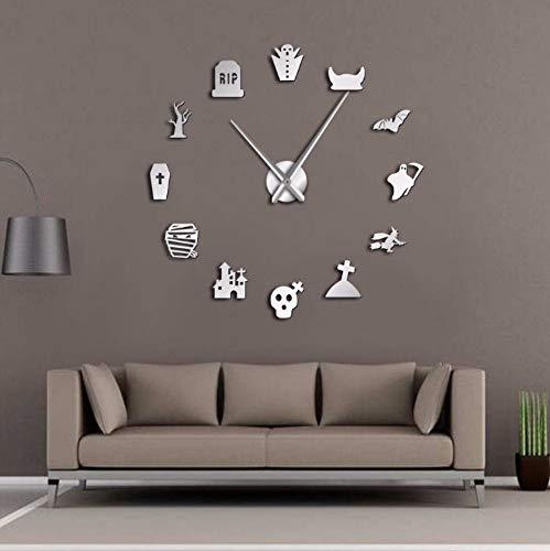st DIY Übergroße Wanduhr Stille Friedhof Schädel Fledermaus Hexe Umriss Cosplay Party Wohnkultur Frameless Time Clock -37inch ()