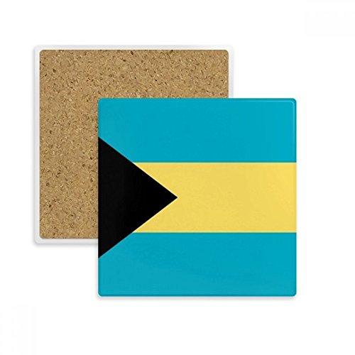 Die Bahamas National Flagge North America Country eckig Untersetzer Tasse Halter saugfähig Stein für Getränke 2Geschenk (Becher Bahama)