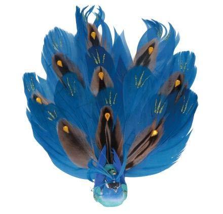 Artemio Oiseau décoratif en plume - Petit paon bleu - 4 x 15,5 x 3,5 cm,