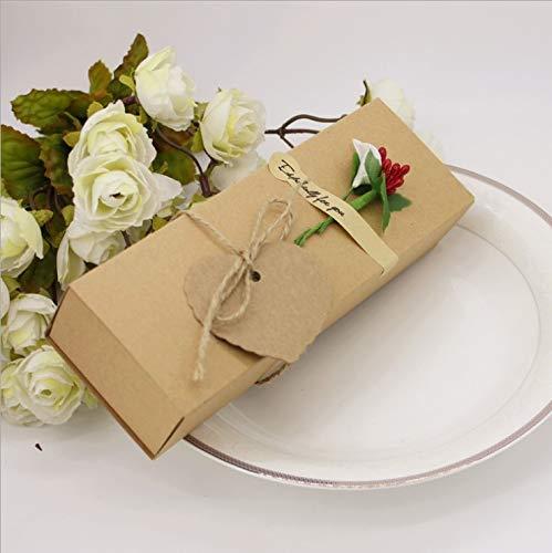 Flowow 20 pz con fiore rosso vaso marrone scatola portaconfetti shabby scatolina bomboniera segnaposto per rustico matrimonio compleanno natale laurea nascita battesimo