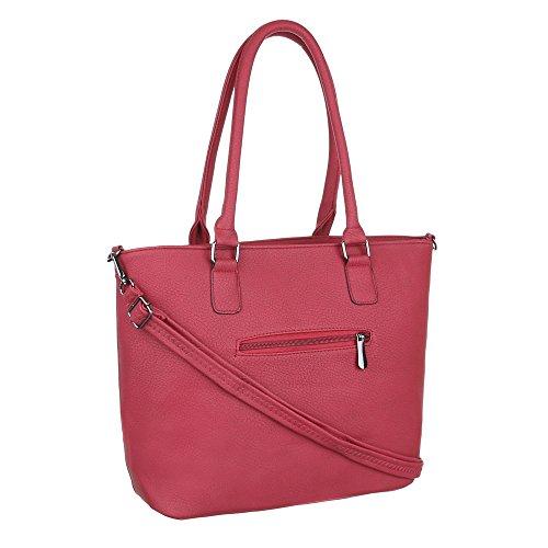 Damen Tasche, Schultertasche, Mittelgroße Handtasche Tragetasche, Kunstleder, TA-C58 Rot
