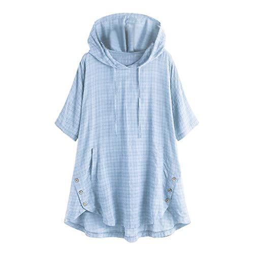 - Kragen, Ab Schulter Baumwolle (QIMANZI Übergröße Damen Lange Ärmel Kaftan Ausgebeult Taste Bettwäsche aus BaumwolleTunika Bluse(Z Hellblau,XL))