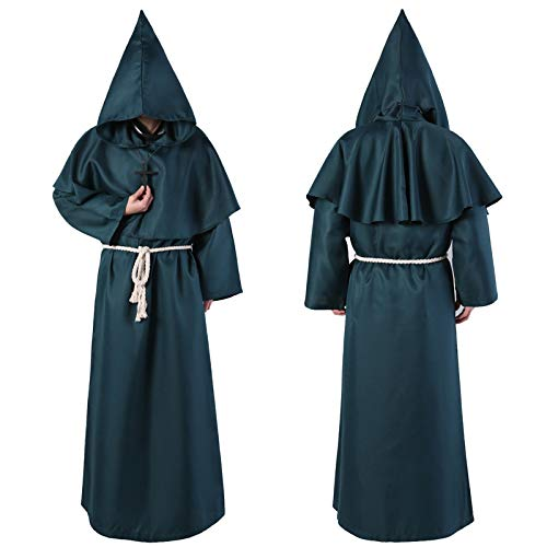 tüm - Mönch Priester Robe Kostüm Medieval Hooded Monk Costume Cosplay Fancy Dress mönch kostüm männer - Ordensbruder - Mönch Kostüm für Herren (Green, L) ()