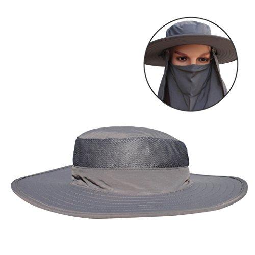 V-RULE Sonnenhut - Fischerhut mit entferntbarer Maske und Schal Wide Brim Sonnenhut - Sonnenschutz für Damen, Herren Outdoor 54-60 Kopfumfang Dunkelgrau