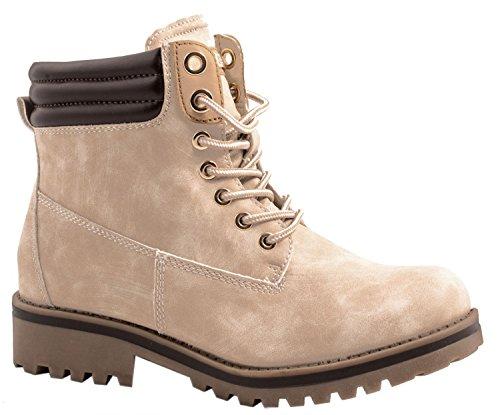 Elara Damen Stiefeletten | Profilsohle Schnürer | Worker Boots | Warm gefüttert | chunkyrayan ZY9208-Pink-40