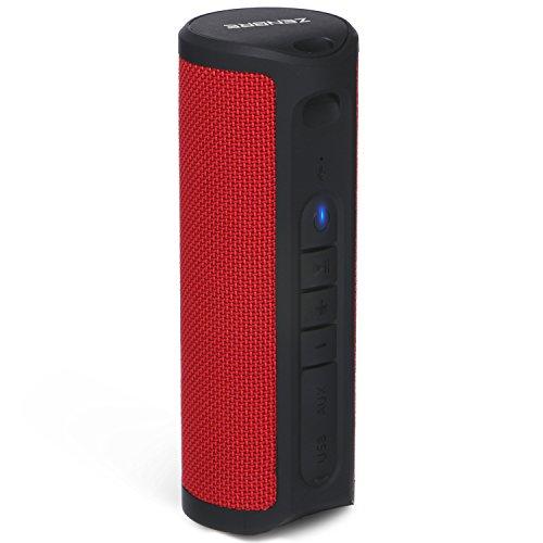 Altavoces Bluetooth, ZENBRE Z4 Altavoces Estéreo Inalámbricos Inalámbricos, 2x5W Dual-Driver Stereo Pairing con Hasta 20h Tiempo de Reproducción (Rojo)
