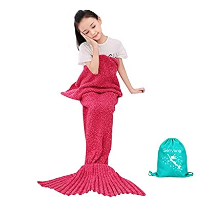 Girls Knitted Crochet Mermaid Tail Blanket ?All Seasons Soft and Warm Sleeping Bag Blanket in Sofa Bed Living Room for Kids - cheap UK light store.