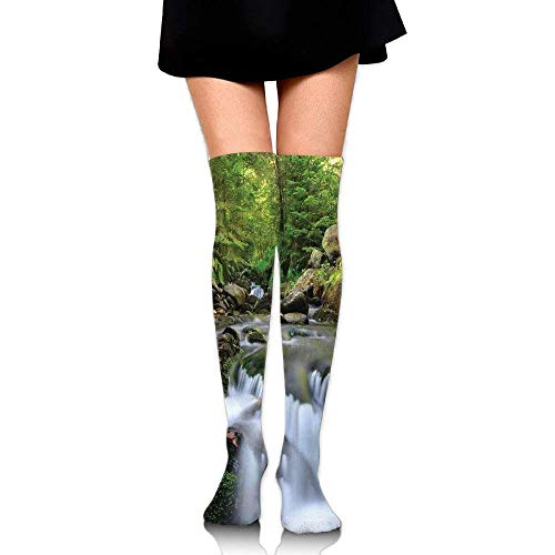OQUYCZ Women's National Park with Cascade Flowing Into The Woods Mother Earth Image Comfortable High Socks