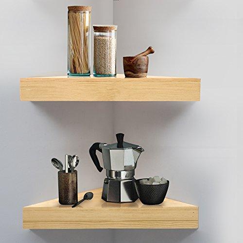 Ahdecor mensola da muro mensole ad angolo, legno di pino scaffale rustico per camera da letto, soggiorno, cucina, ufficio e altro,set di 2