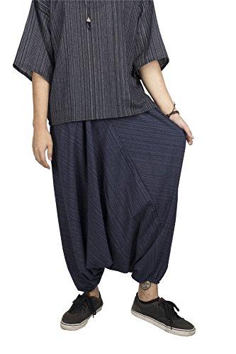 Lofbaz Donna A strisce Cotone Far Cadere Forcella Coulisse Harem Pantaloni Tinta Unita Blu scuro
