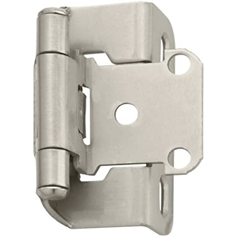 Amerock BP7550G10 Self-Closing, Partial Wrap Hinge with 1/2in(13mm) Overlay - Satin Nickel - by Amerock