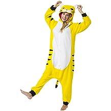 Katara 1744 - Kigurumi Pijama Disfraz de Animal Traje de Dormir para Adultos Unisex - ideal para Cosplay, Carnaval o Halloween - Tigre Onesie Tigger con Capucha M