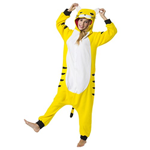 Katara 1744 - Tiger Kostüm-Anzug Onesie/Jumpsuit Einteiler Body für Erwachsene Damen Herren als Pyjama oder Schlafanzug Unisex - viele verschiedene Tiere (Plüsch Tiger Maske)