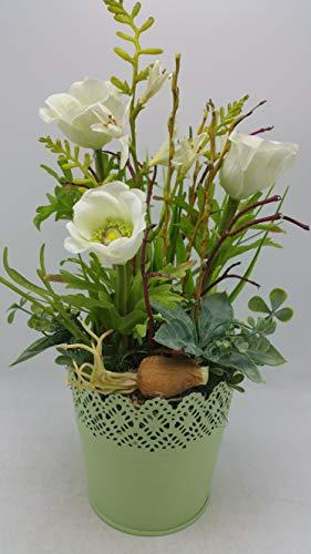 Tischgesteck Frühlingsgesteck Blumengesteck Mohn Zwiebel Gräser Blätter weiß
