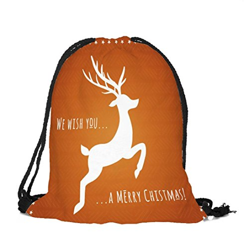 Longra Poliestere Materiale Superiore Unisex Natale Tema Stampa Bundle Pocket Drawstring Bag A