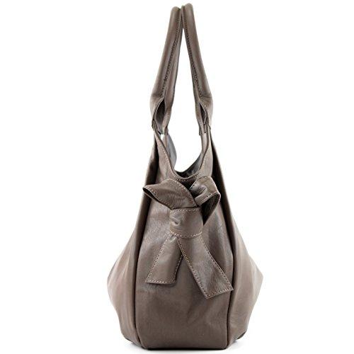 modamoda de - ital. Ledertasche Damenhandtasche Schultertasche Damentasche Nappaleder IT28 Dunkeltaupe